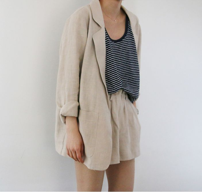 Tan blazer and shorts, suit, striped tee