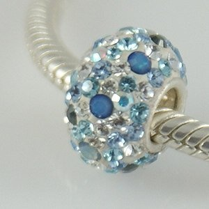 Blue Opal  Blue, Iridescent Swarovski Crystals - Sterling Silver Core Charm Bead - fits Pandora, Chamilia etc style Bracelets - SpangleBead