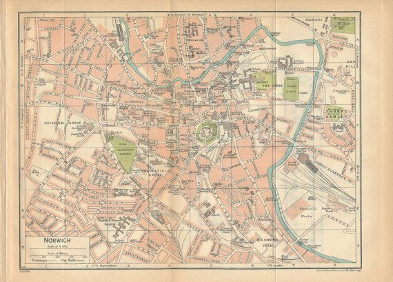 1930 Norwich United Kingdom Great Britain Antique map by Figure10
