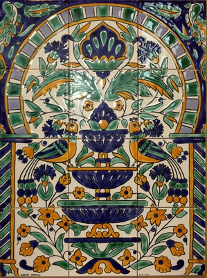 "Hand Painted Ceramic Tunisian Decor Wall Panel 12 tiles 18""x 24"" Fountain motif"