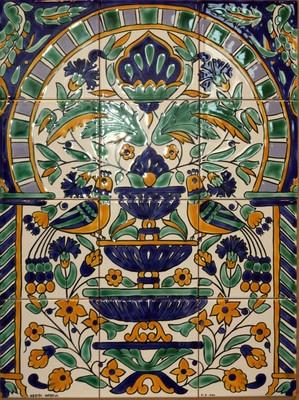 "Hand Painted Ceramic Tunisian Decor Wall Panel 12 tiles 18""x 24"" Fountain motif"
