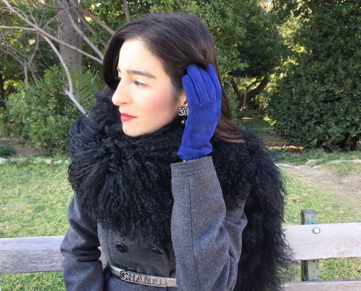 Cobalt blue Prada gloves, Chanel earrings, Prada boa scarf