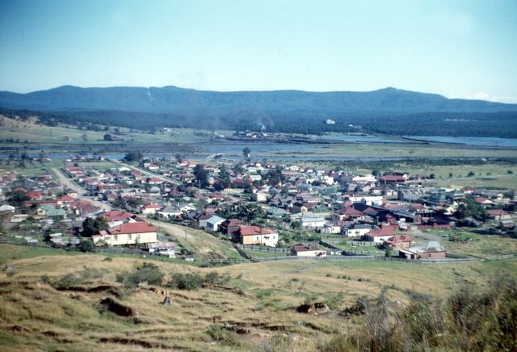 Boolaroo NSW, the view looking north from the hill, May 1953. Donated by Kerrie Turon.