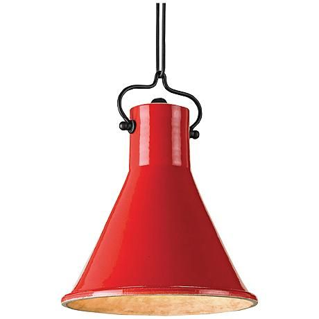 "Currey and Company Rooke 10"" Wide Red Pendant Light"