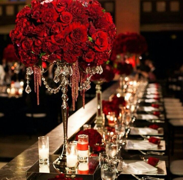 Gorgeous Crystal Chandelier Vases Bursting With Deep Red Roses And Dahlias Wedding Design By Sterling Engagements