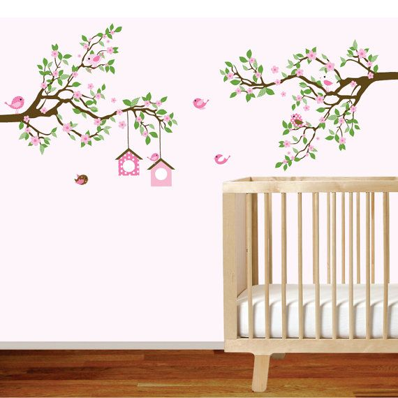 Branch Wall Decal   Baby Girl Nursery Tree Branch Decal Flowers Birds Wall  Decal Sticker Pictures