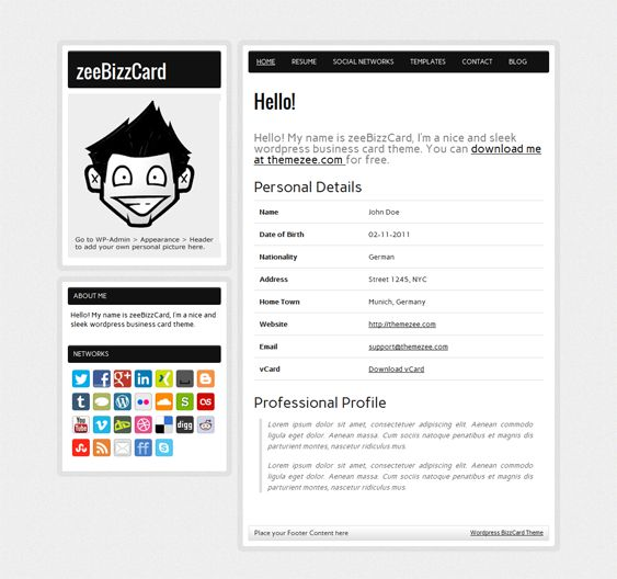 this free resume wordpress theme has a minimal design social media icons a portfolio