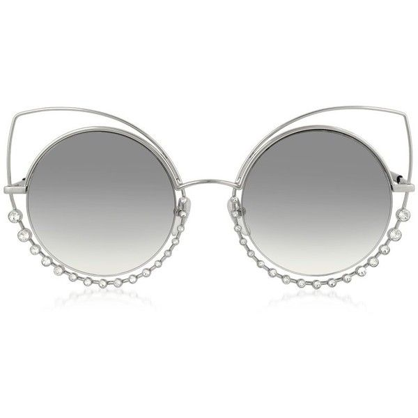 Marc Jacobs Sunglasses MARC 16/S EEIIC Silver Metal and Crystals Cat... ($380) ❤ liked on Polyvore featuring accessories, eyewear, sunglasses, glasses, round sunglasses, retro cat eye glasses, cateye sunglasses, round lens sunglasses and round rim glasses