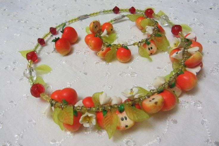 apples from pilymer clay/колье, браслет и серьги  Яблоки из полимерной глины