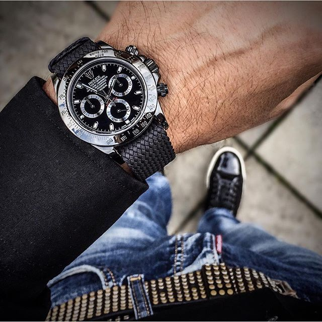 Custom made Rolex Daytona by @EmberWatches on a matching perlon strap from @whatchsdotcom ⚫️ by dailywatch http://ift.tt/1EUURkv