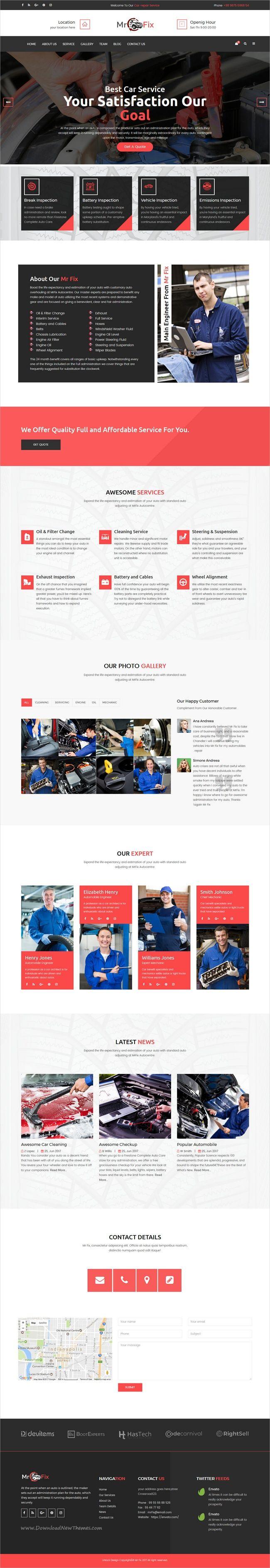 Mr fix car repair service html5 template