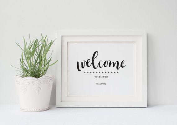 wifi password sign | printable  guest room sign | welcome | editable | customize | 8 x 10 | 5 x 7 | instant digital print