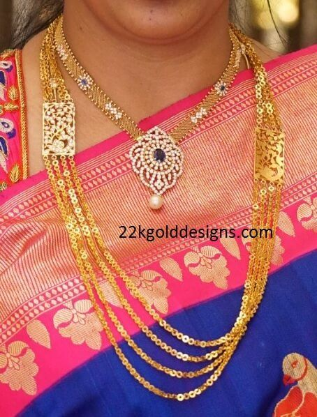gold-mesh-necklace-and-gold-chandraharam.jpg 454×598 pixels