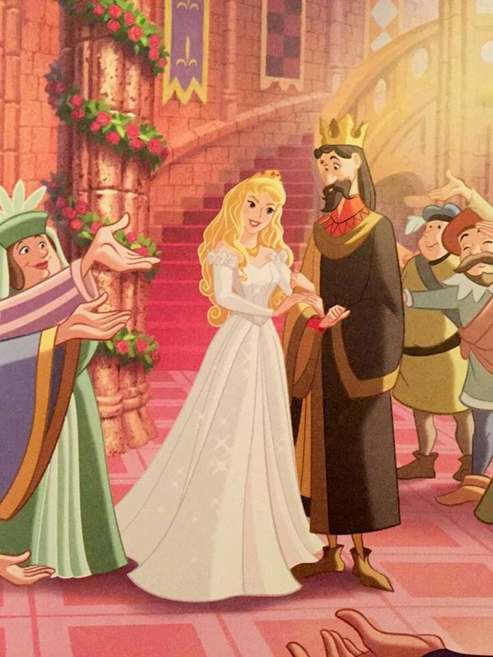 Aurora on her wedding day. Her father escorts her.