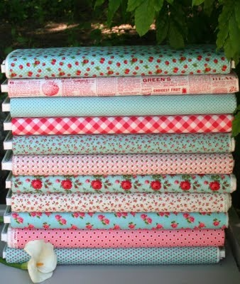 Annie's Farm Stand by LakehouseAqua Fabrics, Pretty Fabrics, Pink Red, Beautiful Fabrics, Annie Farms, Colors Schemes, Rings Tone, Annie'S Farms, Farms Stands