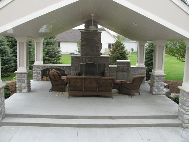 like the idea of brick bottoms to post gives it that 50s style you - Patio Pavilion Ideas