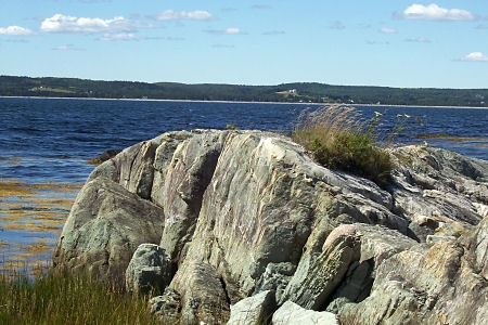 In the distance is the popular Risser's Beach on the mainland, with a Provincial Park and campground.