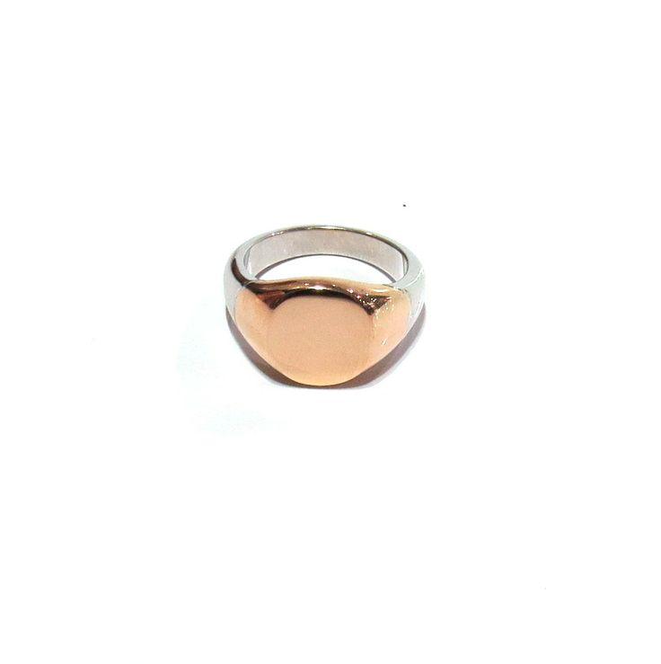 Rose & White Gold Ladies Signet ring