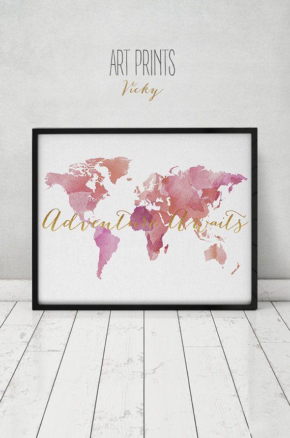 Adventure awaits, Travel map, World map watercolor print, large world map, faux gold,map painting, Home Decor fine art prints ArtPrintsVicky