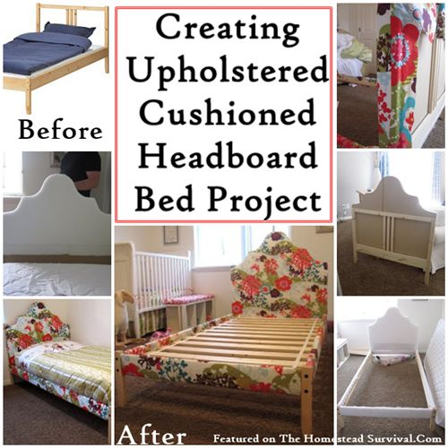 The Homestead Survival | Creating Upholstered Cushioned Headboard Bed Project | http://thehomesteadsurvival.com - This project is perfect for a child's room because the foam cushioning added around the headboard and frame helps protect a child from bumps and bruises from sharp corners.