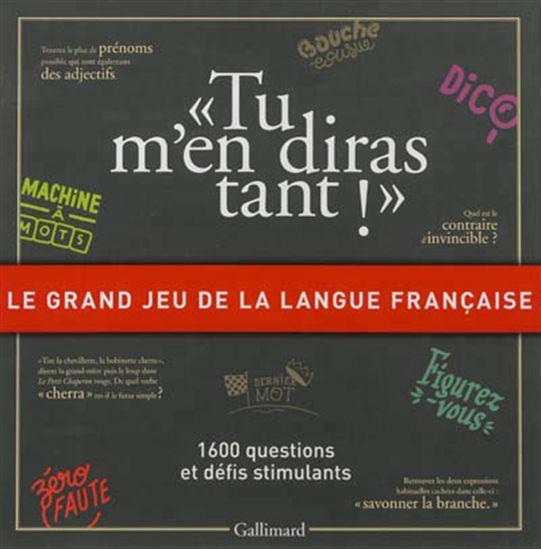 Ce jeu contient 1.600 questions et défis autour de la langue française, pour jouer en famille, dès quatorze ans. Environ mille questions thématiques sont relatives à l'orthographe, à l'usage et à la prononciation de la langue, aux champs lexicaux et à l'étymologie, aux figures de styles et aux niveaux de langue.
