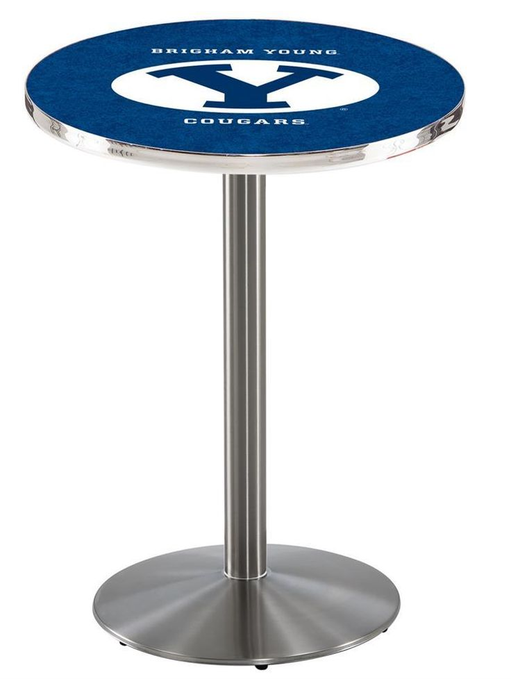 BYU Brigham Young University Pub Table With Stainless Steel Base