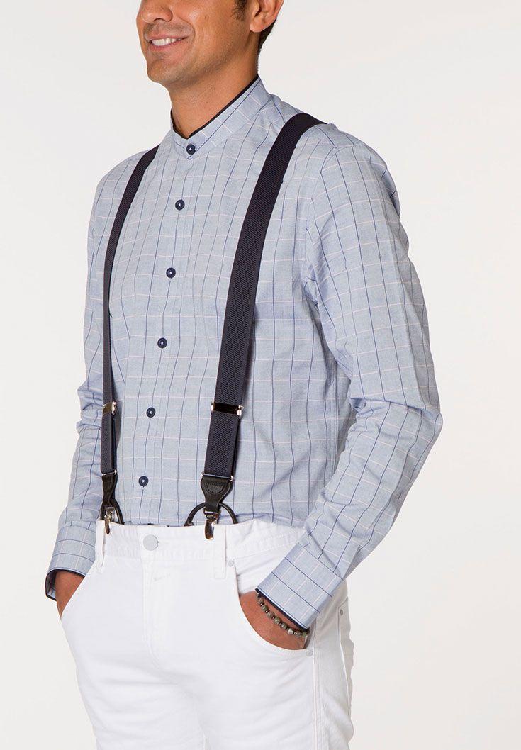 227World: Signature Long Sleeve Shirts - button-up chambray plaid shirt  with stylish mandarin