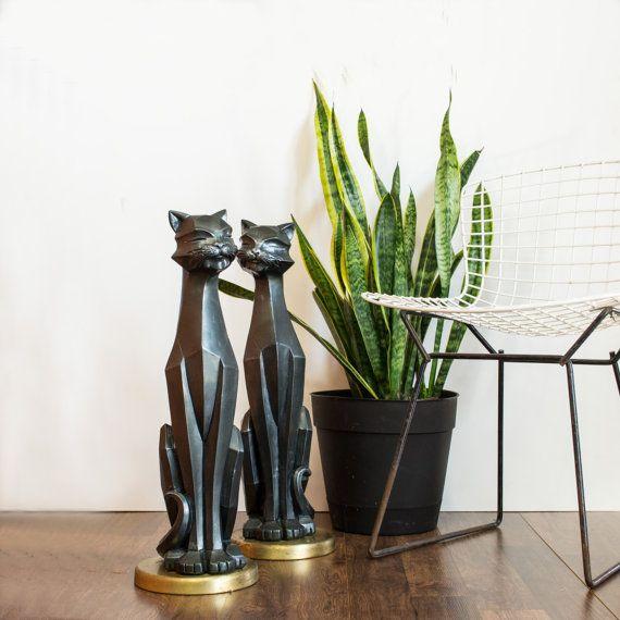 Modern Halloween Decor: Modern Cubist Black Cat Statues