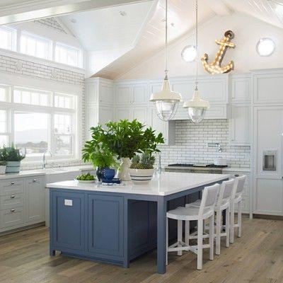 White and Blue California Kitchen - 5-Star Beach House Kitchens - Coastal Living