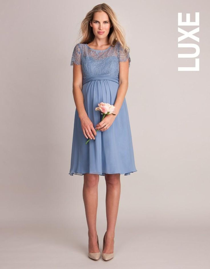 Cornflower Silk & Lace Maternity Dress | Seraphine -- Stunning silk maternity cocktail dress in Serenity - one of the Pantone colors of the year 2016
