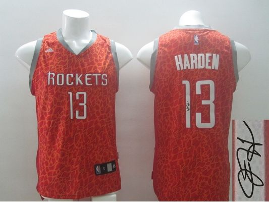 822738b06 ... NBA Houston Rockets 13 James Harden Red Crazy Light Swingman With  player signed Jersey 2014 2015 ...