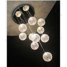 10 свет алюминиевый провод стеклянные шарики лестницы подвесной светильник гостиная ресторан кричащие кухня столовая кулон висит огни