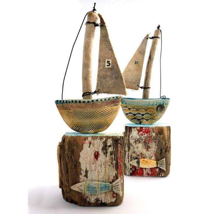 Driftwood & ceramic boats Shirley Vauvelle coastalhome.co.uk