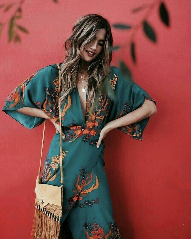 Boho style bohemian bohemian style dress bag fringe fringe dress has flower dress long dress bohemian dress wavy hair blond blonde woman women style fashio …