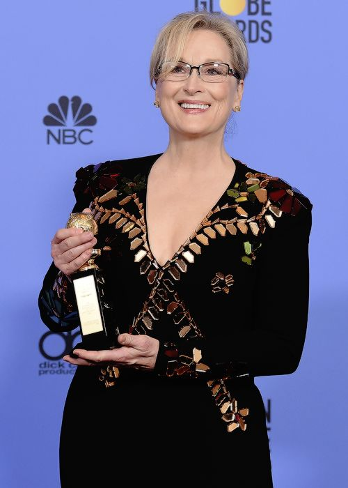 Meryl Streep, winner of the Cecil B. DeMille Award, poses in the press room at the 74th Annual Golden Globe Awards held at the Beverly Hilton Hotel on January 8, 2017.