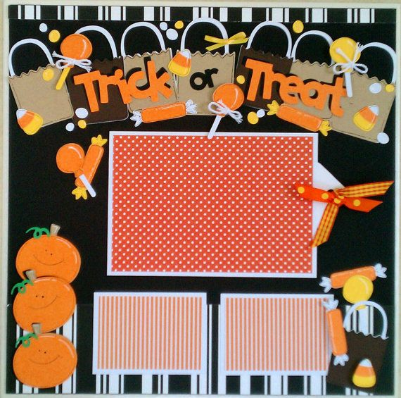 Trick or Treat 12x12 premade scrapbook layout page by ohioscrapper, $15.00