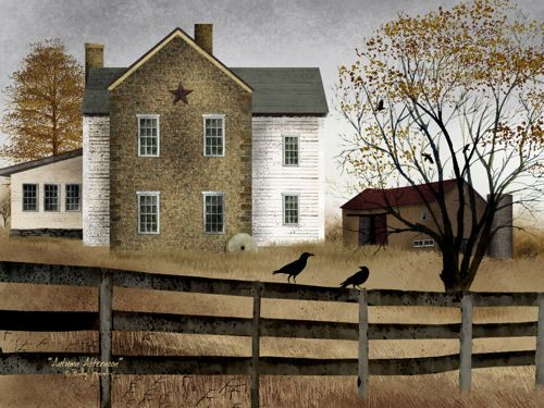 Autumn Afternoon Billy Jacobs 12x16 Folk Art Country Primitive Landscape Print