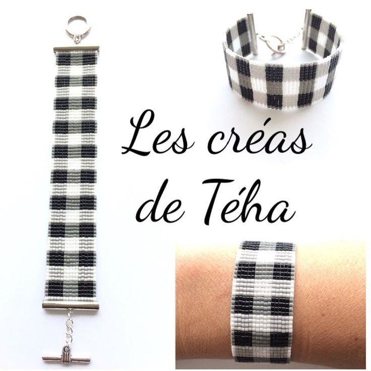 49 mentions J'aime, 5 commentaires - @les_creas_de_teha sur Instagram: «Il y a longtemps que je voulais tisser un motif Vichy, c'est chose faite!!  Bracelet à retrouver…»