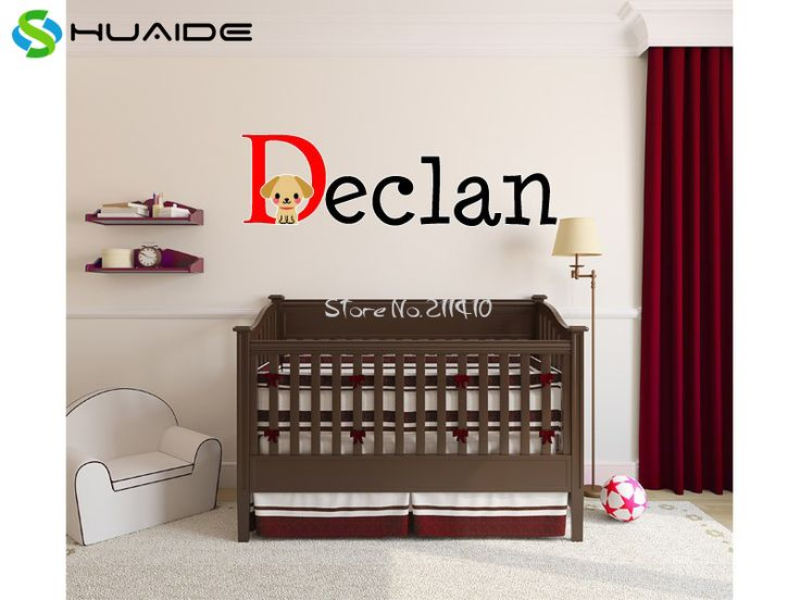 >> Click to Buy << Boys Name Wall Sticker Baby Nursery Name Puppy Dog Wall Decal Personalized Name Stickers For Kids Room Cut Vinyl Stickers SA604 #Affiliate