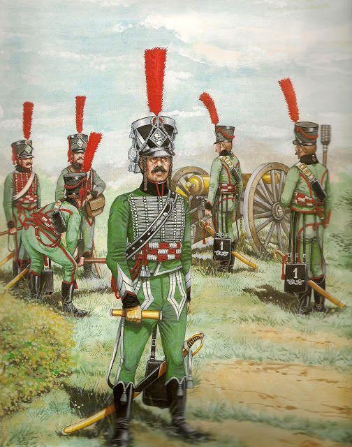 Artiglieria a cavallo Ufficiale e artiglieri 1801