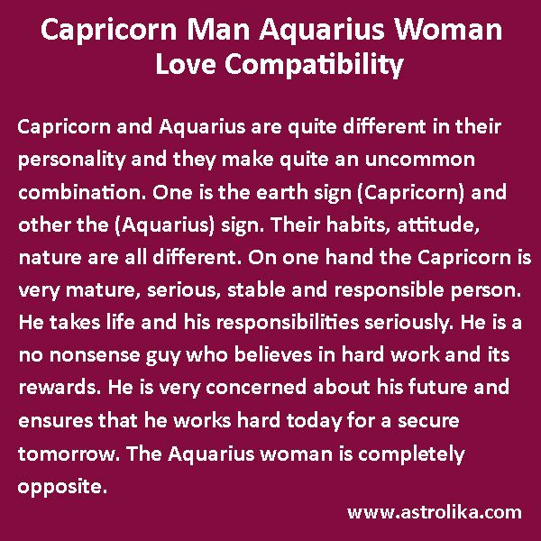 Capricorn male aquarius woman