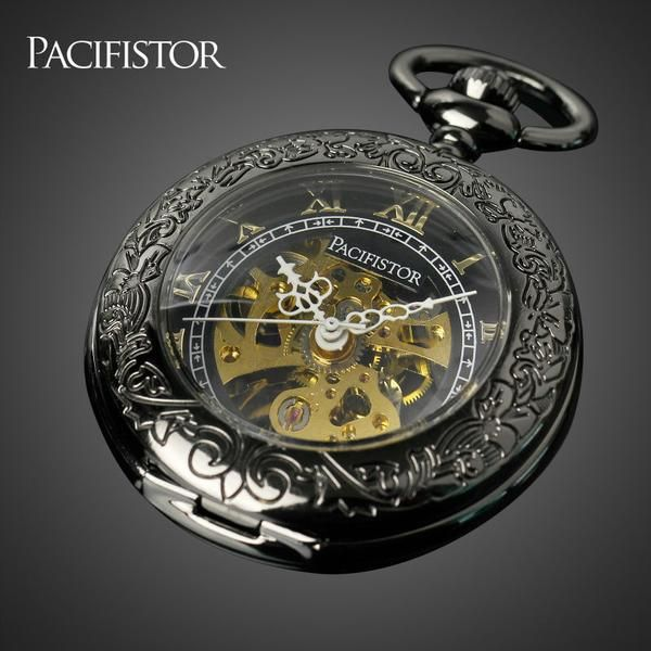 PACIFISTOR Men Pocket Watch Roman Style Vintage Skeleton Mechanical Watches Stainless Steel Case Semi-automatic Clock Gift