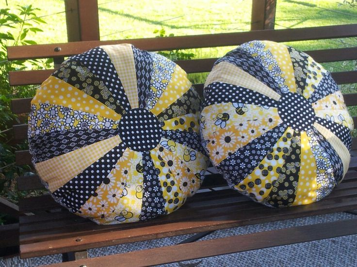 Black yellow and white sprocket pillows. So easy and fun to make.