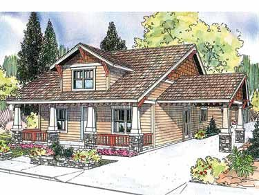 Markham Craftsman House Plan 2222 sq. ft. 3 Beds, 2.5 Bath. 50'W x 67'D. Symmetrical Craftsman-style bungalow with an attached porte-cochere. Living room links to dining room, which opens into nook and kitchen. Owners' suite boasts walk-in closet, spa tub, separately enclosed toilet/shower