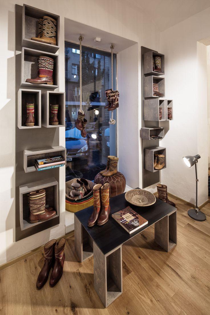 NILA store interior, kilim boots