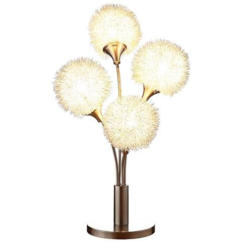 Dandelion Bloom Sand Chrome 4-Light Accent Table Lamp