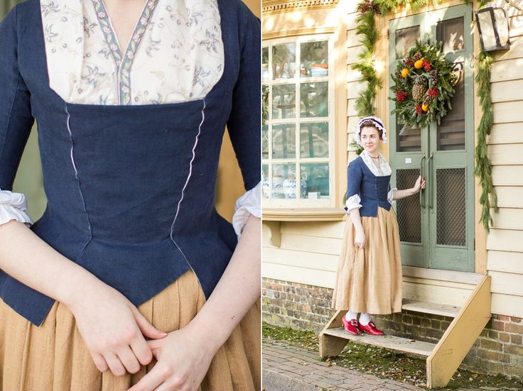 """Mode de Lis: Working Class Attire · 1770s Style  Lily has paired red """"Kensington"""" 18th century leather shoes with her beautiful Georgian workwear."""