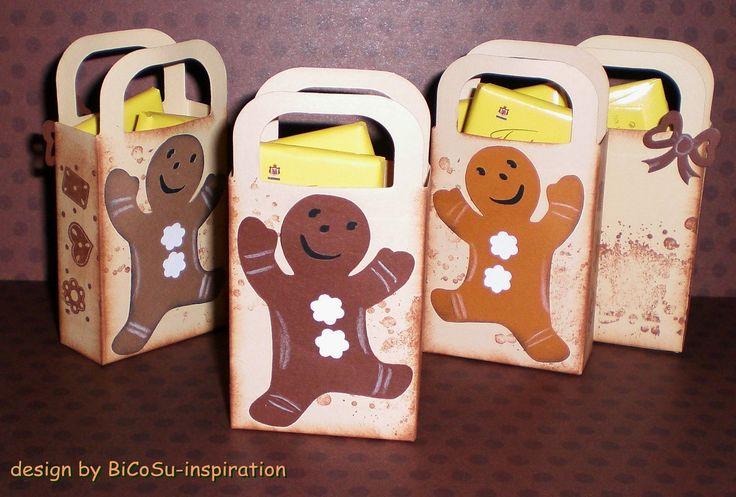zu Weihnachten kleine Täschen mit einem Lebkuchen gefüllt mit Schokolade - xmas - christmas bag with gingerbread --- Cricut and Background stampin up