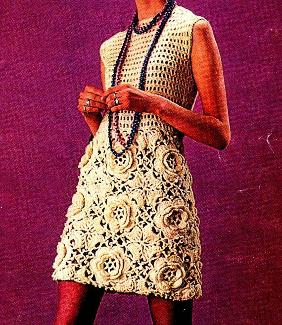 Vintage crochet mini dress pattern                                                                                                                                                                                 Mais