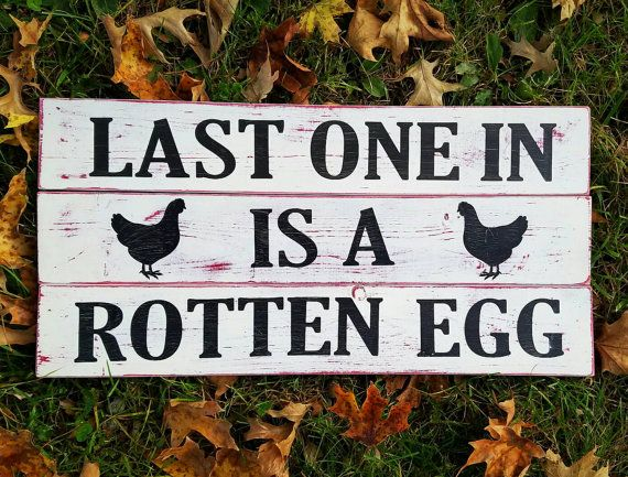 Hey, I found this really awesome Etsy listing at https://www.etsy.com/listing/487752891/last-one-in-is-a-rotten-egg-rustic-wood
